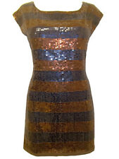 NEW FCUK BROWN/NAVY BLUE STRIPE SEQUIN TUNIC DRESS Size S, M, L, XL, XXL