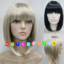 BOB Short Straight bangs Women Female Lady Hair Full Wig with hairnet