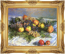 Framed Canvas Art Claude Monet Pears and Grapes Still Life Fruit Painting Repro