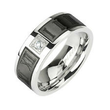 316L Stainless Steel Black Roman Numeral Stripe CZ Wedding Band Ring Size 5-13
