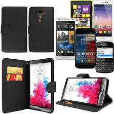 Black Side Opening Wallet Flip Case Cover PU Leather For Various Mobile Phone