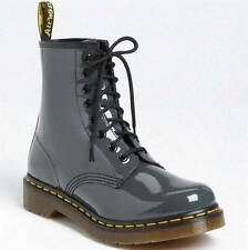 Doc Martens Patent Leather Air Wair Lamper 1460 GREY Boots 8-Eyelet Unisex NWOT