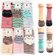 Women Striped Cat Socks Fashion Ladies Girls Character Printed ts1-4
