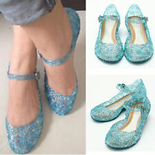 Cute Frozen Blue Princess Cosplay Shoes Girls Kids Jelly Shoes UK 9 10 11 12 13