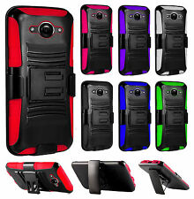 For Motorola Droid Turbo Combo Holster HYBRID KICK STAND Hard Rubber Case Cover