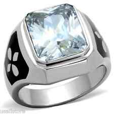 Mens Large Cubic Zirconia Stone Silver Stainless Steel Ring