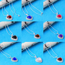 Heart Womens Multi-color Gemstone 14k Gold Filled Necklace Pendant Jewelry party