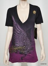 New Remetee City of Angels Cotton/Foil/Velvet V-Neck T-Shirt Top Tee ~Purple S/L