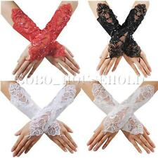Sexy Bride Wedding Party Dress Fingerless Pearl Lace Satin Bridal Gloves Costume