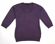 JOHN SMEDLEY Island 3/4 Sleeve Sweater in Tayberry ~ L