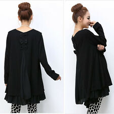 Women's Black Ruffle Top Scoop Neck Long Tunic Plus Size Day Shift Sweater Dress