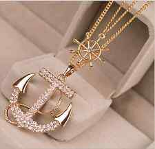 New Fashion Gold Double Chain With Big Rhinestone Long Anchor Pendant Necklace
