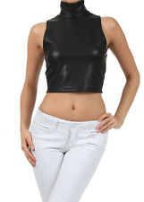 BLACK Tight Faux Leather Sleeveless Turtleneck Club PVC Crop Top Shirt S M L