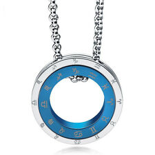 316L Classic Mens Fashion Stainless Steel Constellation Ring Pendant Necklace
