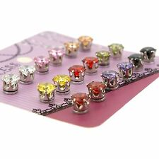 Color Cubic Zirconia Crystal Magnetic Stud Earrings for Teen Girls Women 9 Pairs