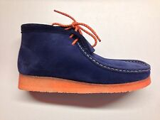 CLARKS ORIGINALS x MF DOOM NAVY ORANGE MULTI WALLABEE CAUSAL LIMITED BOOTS 03231