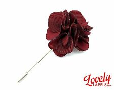 Men's Flower Lapel Pin, BURGUNDY SILK CARNATION Handmade Floral Boutonniere