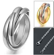 316L Stainless Steel Circle Men Women Rolling Ring Pendant Necklace Gift Box P16