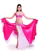 New Belly Dance Costume 3 Pics Bra&Belt&Skirt 34B/C-38B/C 8 Colors Hot Sale