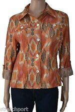 Ruby Rd. Shirt Global Nomad Button Down Burnout Top Sizes 6, 8, 10 $58 NWT