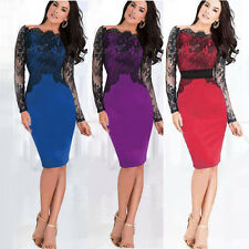 New Women Lace Off Shoulder Pencil Dress Formal Evening Cocktail Party Fit Gown