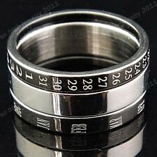 3-in-1 316L Top Stainless steel Men's Women's Calendar Ring Band Black Silver