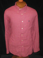 Tommy Hilfiger Men L Button Collar Shirt Red Check
