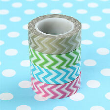 Multi-Color 10m Japanese 15mm Wide Wave Pattern Chevron Craft Washi Paper Tapes
