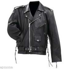 Mens Solid Cowhide Leather Black Classic Jacket Coat
