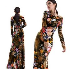 Womens Vintage Floral Printed Evening Party Maxi Long Gown Ball Winter Dress SML