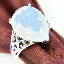Free Shipping ! Elegant Water Drop Rainbow Moonstone Gems Silver Ring Sz 7 8 9