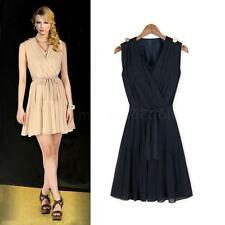 Woman Sexy Sleeveless Pleated V Neck Mini Dress Chiffon Party Sundress Bowknot