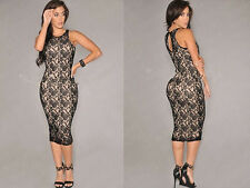Elegant Women Sleeveless Lace Bodycon Cocktail Evening Party Short Mini Dress