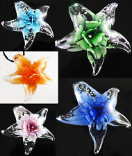 Fashion Nice Gorgeous Lucency With Flower Star Murano Glass Pendant Necklace