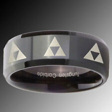 Tungsten Eight Legend of Zelda Triforce Black Pipe Cut Engraved Ring Sz 4-15
