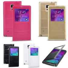 Slim Leather Flip Case Cover wallet Smart Sleep / Wake For Samsung Galaxy Note 4