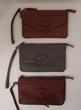 LUCKY BRAND BLACK BROWN COGNAC DEL RAY LEATHER ZIP WALLET CLUTCH NWT $78 MSRP
