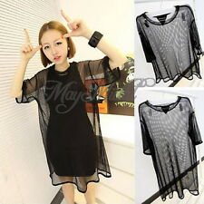 Sexy Women Sheer Mesh See Through Short Tee Sleeve T Shirt Blouse Oversize CA