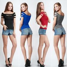Sexy Women Cut Out Crew Neck T-Shirt Short Sleeve Solid Color Ripped Top Blouse