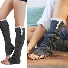 Winter Women Crochet Knitting Wool Stocking Leg Warmers Long Legging Socks
