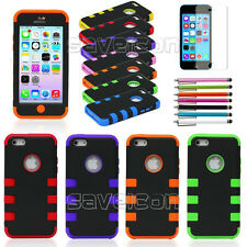 Colorful Heavy Duty Hybrid Rugged Hard Case Cover For iPhone 5C C + Stylus+ Film