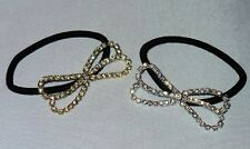 NEW PONYTAIL BOW HAIR HOLDER CLEAR CRYSTALS SELECT GOLDTONE OR SILVERTONE METAL