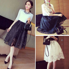 1PC Womens Double Layer Pleated Retro Plaid Long Elastic Waist Skirt Reliable
