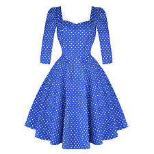 Hearts & Roses London Sleeved Blue Polka Dot Vintage 1950s Party Prom Dress