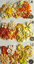 SCRAPBOOKING NO 066 - 16 MIXED PRIMA PAPER FLOWERS - 5 DIFFERENT PACKS AVAILABLE