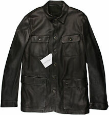 SALVATORE FERRAGAMO BROWN LEATHER JACKET-MADE IN ITALY