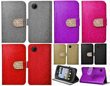 TracFone LG 306G Premium Glitter Leather Wallet Pouch Flip Cover + Screen Guard