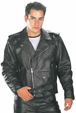 Xelement Mens Black Cowhide Genuine Leather Biker Motorcycle Jacket