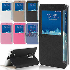 PU Leather Flip Cover for Samsung Galaxy Note Edge S-View Window Phone Case New