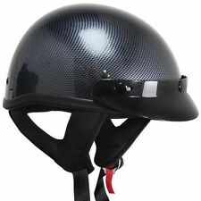 Outlaw Carbon Fiber Cruiser Half Open Face Motorcycle Helmet (XS-XXL)